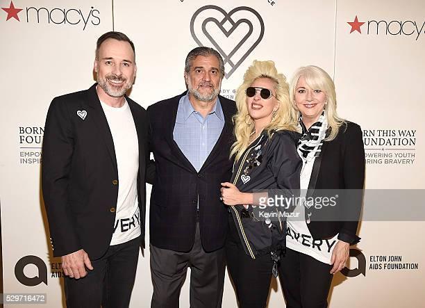 David Furnish Joe Germanotta Lady Gaga and Cynthia Germanotta attend the launch of Bravery by Lady Gaga and Elton John at Macy's Herald Square on May...