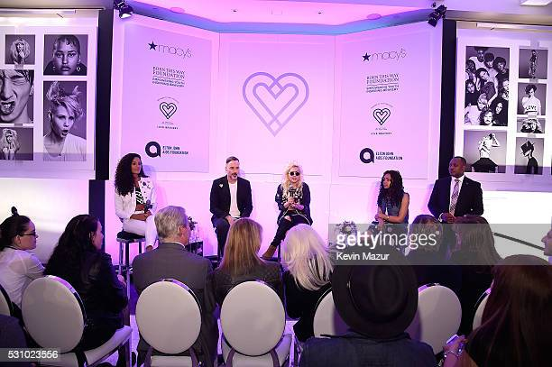 David Furnish Lady Gaga and Natali Germanotta speak to customers who made a lovebravery qualifying purchase at the launch of Bravery by Lady Gaga and...