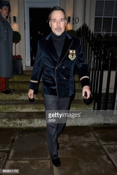 David Furnish leaving the Evgeny Lebedev Christmas party held at a private residence in North London on December 15 2017 in London England