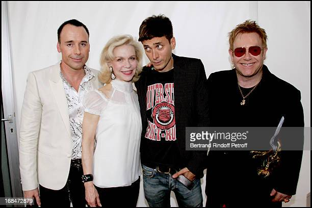 David Furnish Lynn Wyatt Hedi Slimane and Elton John Dior fashion show masculine collections spring summer 2007
