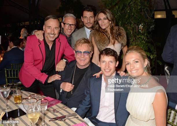 David Furnish, Patrick Cox, David Gandy, Sir Elton John, Elizabeth Hurley, James Blunt and Sofia Wellesley attend the Woodside End of Summer party to...