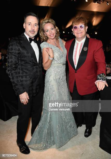 David Furnish Princess Camilla Duchess of Castro and Sir Elton John attend Elton John AIDS Foundation 26th Annual Academy Awards Viewing Party at The...