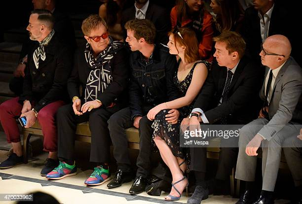 David Furnish Sir Elton John actors Harry Treadaway Holliday Grainger and Kevin Huvane and Bryan Lourd of CAA attend the Burberry London in Los...