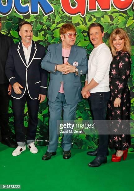 David Furnish Sir Elton John James McAvoy and Ashley Jensen attend the Family Gala Screening of Sherlock Gnomes hosted by Sir Elton John and David...