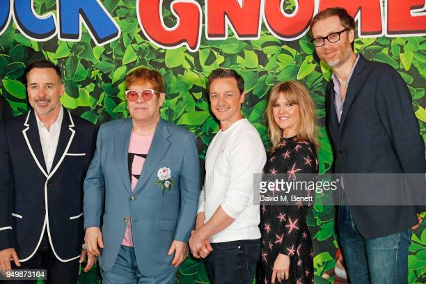 David Furnish Sir Elton John James McAvoy Ashley Jensen and Stephen Merchant attend the Family Gala Screening of Sherlock Gnomes hosted by Sir Elton...