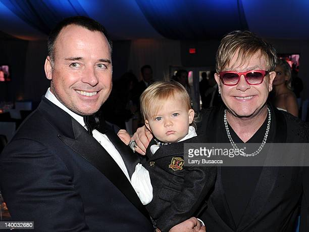 David Furnish, son Zachary and Sir Elton John attend the 20th Annual Elton John AIDS Foundation Academy Awards Viewing Party at The City of West...