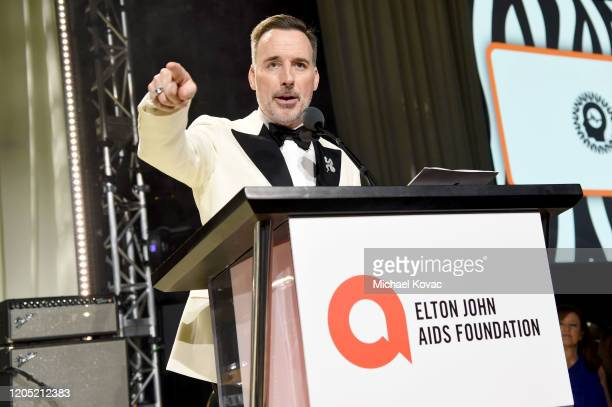 David Furnish speaks onstage at the 28th Annual Elton John AIDS Foundation Academy Awards Viewing Party sponsored by IMDb Neuro Drinks and Walmart on...