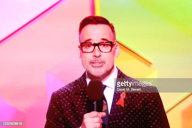 David Furnish speaks via zoom at The BRIT Awards 2021 at The O2 Arena on May 11, 2021 in London, England.