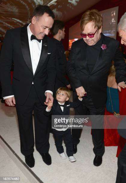 David Furnish, Zachary Furnish-John and Sir Elton John attend the 21st Annual Elton John AIDS Foundation Academy Awards Viewing Party at West...