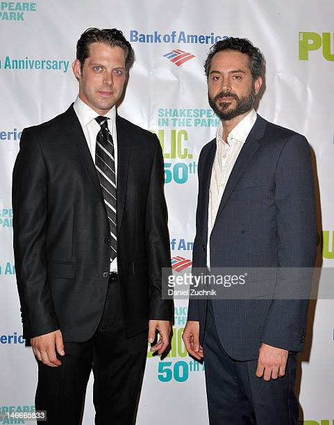 David Furr and Omar Metwally attend the opening night celebration for 'As You Like It' at the Delacorte Theater on June 21 2012 in New York City