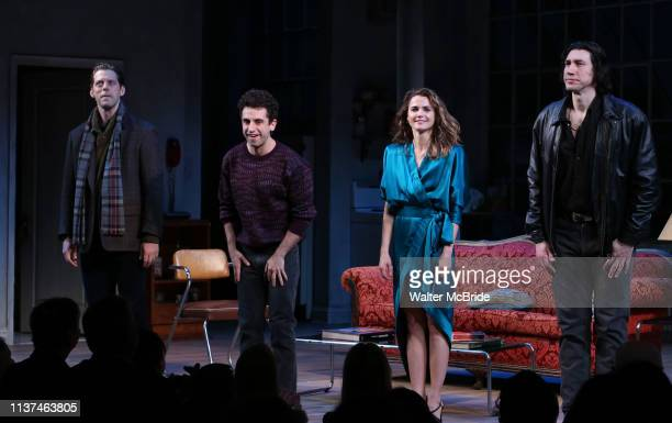 David Furr Brandon Uranowitz Keri Russell and Adam Driver during the Broadway Opening Night Curtain Call for Landford Wilson's Burn This at Hudson...