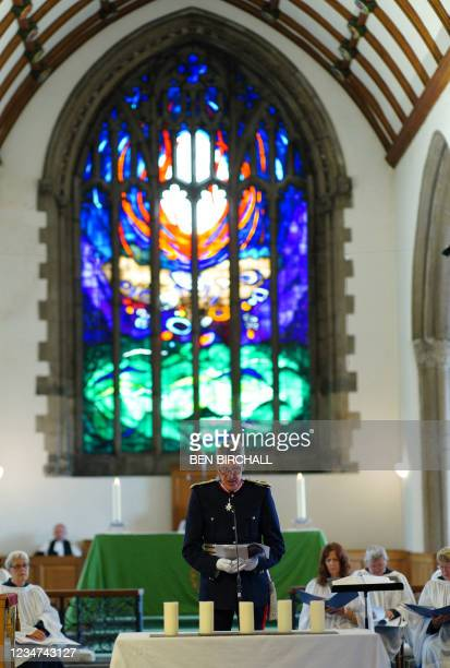 David Furston, Lord-Lieutenant of Devon, gives a reading during a civic service at Minister Church Of St Andrew in the Keyham area of Plymouth,...