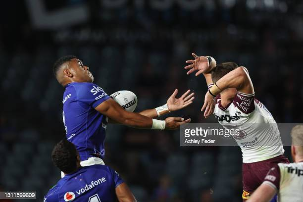 David Fusitu'a of the Warriors catches a high ball during the round five NRL match between the New Zealand Warriors and the Manly Sea Eagles at...