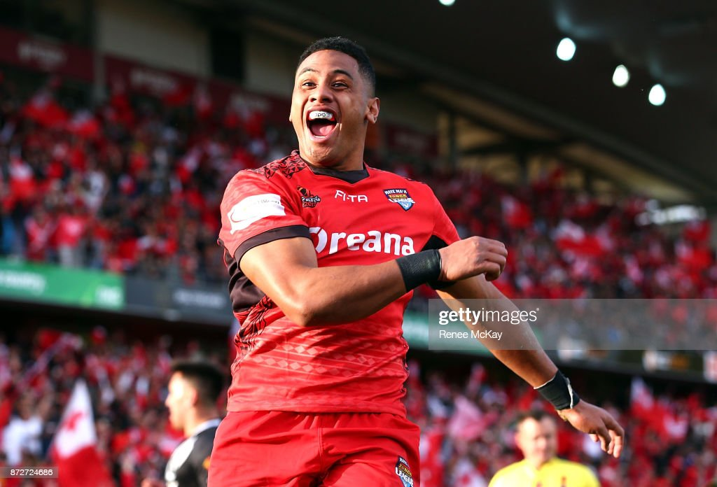 David Fusitua of Tonga celebrates his 3rd try during the 2017 Rugby League World Cup match between the New Zealand Kiwis and Tonga at Waikato Stadium on November 11, 2017 in Hamilton, New Zealand.