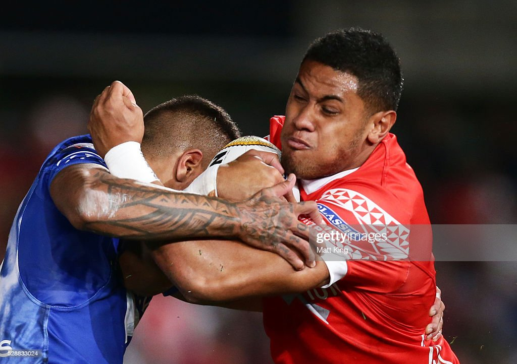 David Fusitu'a of Tonga is tackled during the International Rugby League Test match between Tonga and Samoa at Pirtek Stadium on May 7, 2016 in Sydney, Australia.