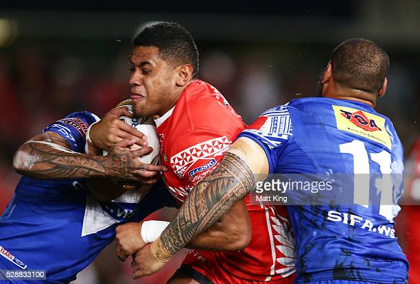 David Fusitu'a of Tonga is tackled during the International Rugby League Test match between Tonga and Samoa at Pirtek Stadium on May 7 2016 in Sydney...