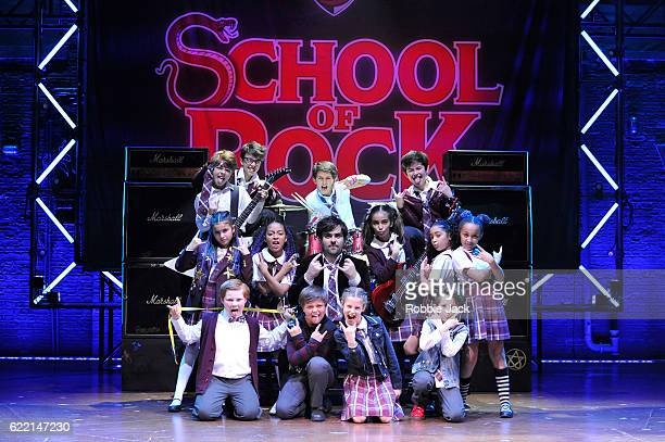 David Fynn as Dewey Finn with artists of the company in Andrew Lloyd Webber's School of Rock at The New London Theatre Drury Lane on November 7 2016...