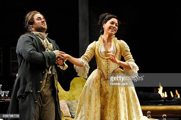 David Fynn as Tony Lumpkin and Cush Jumbo as Constance Neville in Oliver Goldsmith's She Stoops To Conquer directed by Jamie Lloyd at the National...