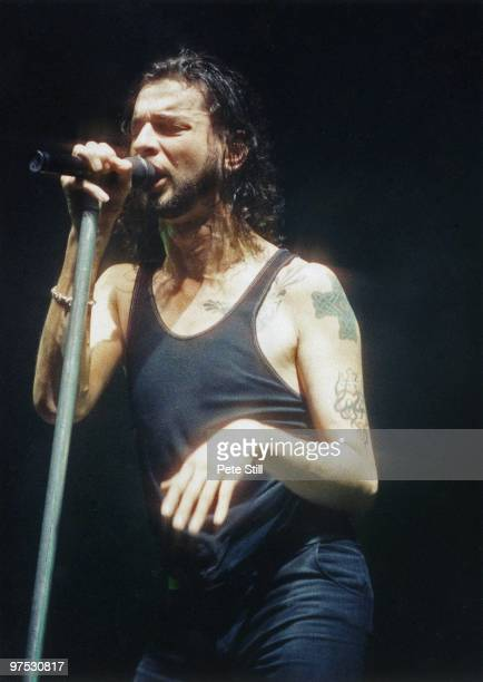 David Gahan of Depeche Mode performs on stage at Wembley Arena on December 20th 1993 in London England