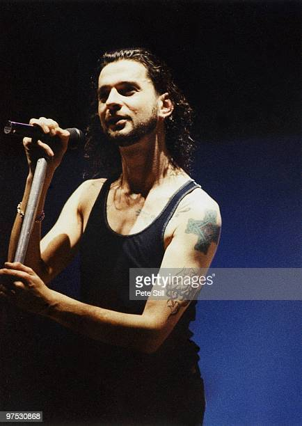 David Gahan of Depeche Mode performs on stage at Wembley Arena on December 20th, 1993 in London, England.