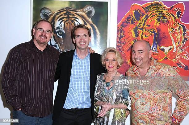 David Galgano, Michael Dean Shelton, actress Tippi Hedren and Phil Selway attend the 2009 Shambala Preserve Benefit held at Hamilton Selway Gallery...