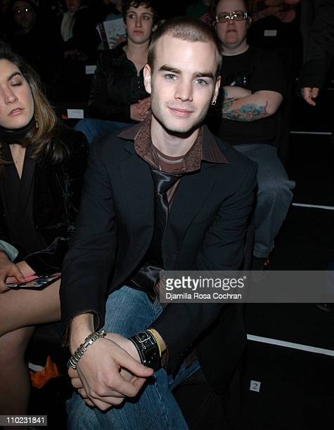 David Gallagher during Olympus Fashion Week Fall 2005 Heatherette Front Row at The Tent Bryant Park in New York City New York United States