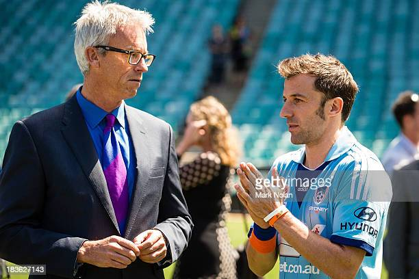 David Gallop and Alessandro Del Piero chat during the 2013/14 ALeague Season Launch at Allianz Stadium on October 8 2013 in Sydney Australia