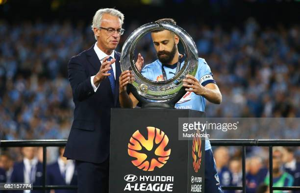 David Gallop and Alex Brosque of Sydney FC after the 2017 ALeague Grand Final match between Sydney FC and the Melbourne Victory at Allianz Stadium on...