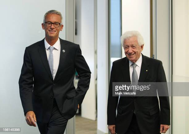 David Gallop and Chairman Frank Lowy arrive for a press conference at the FFA Offices on November 12, 2012 in Sydney, Australia.