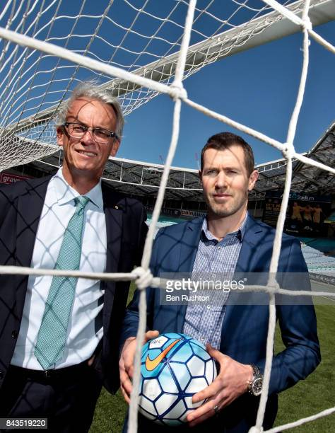 FFA CEO David Gallop and former Socceroo Brett Emerton pose during an FFA Socceroos announcement at ANZ Stadium on September 7 2017 in Sydney...