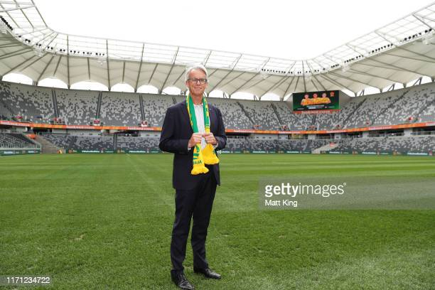 David Gallop poses during a Matildas media opportunity at Bankwest Stadium on August 31, 2019 in Sydney, Australia.