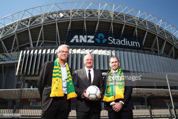 FFA CEO David Gallop Socceroos Head Coach Graham Arnold and ANZ Stadium CEO Daryl Kerry pose after annoucing the Socceroos v Lebanon International...