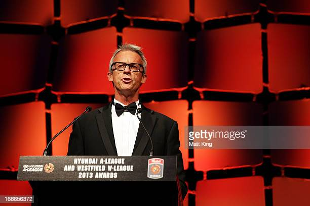 David Gallop speaks during the 2013 FFA ALeague and WLeague Awards at Hilton Hotel on April 15 2013 in Sydney Australia