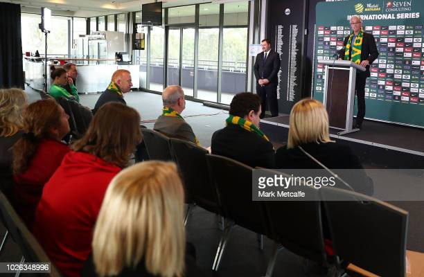 David Gallop speaks to media at Panthers Stadium after the announcement of a two match International Friendly series against Chile this November on...