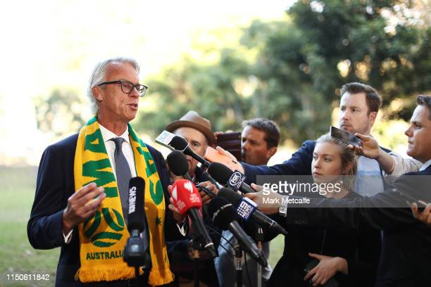 David Gallop speaks to media during a FFA press conference regarding Australia's bid for the 2023 FIFA Women's World Cup at Harmony Park on May 21,...