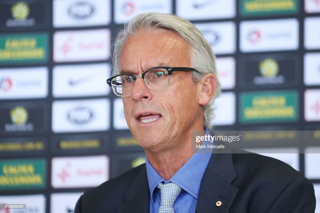 David Gallop speaks to media during a press conference at FFA Headquarters on February 1, 2018 in Sydney, Australia.