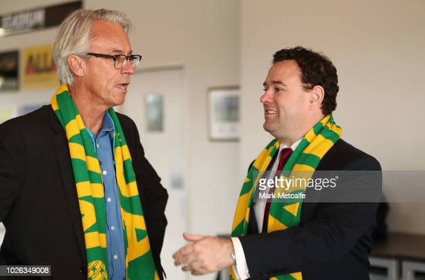 David Gallop speaks to NSW Minister for Sport Stuart Ayres at Panthers Stadium after the announcement of a two match International Friendly series...