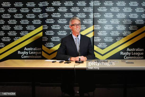 David Gallop speaks to the media at the announcement of his resignation as ARLC CEO at Rugby League Central on June 5, 2012 in Sydney, Australia.