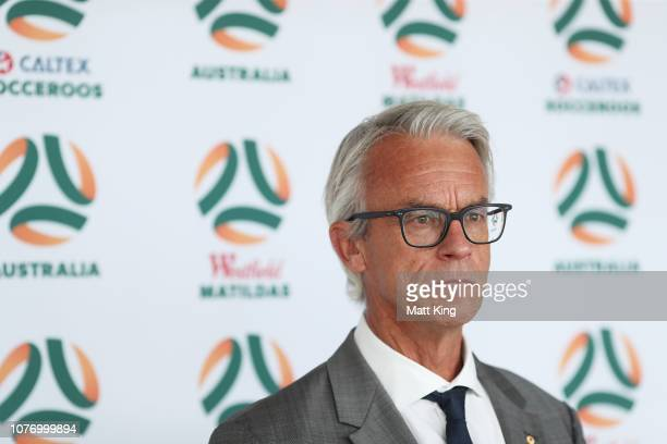 David Gallop speaks to the media during a media opportunity after the FFA announcement of the national team rebranding at the Overseas Passenger...
