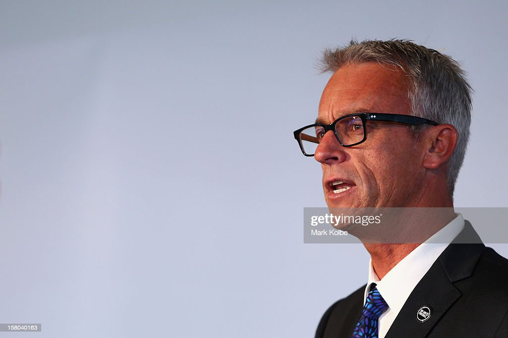 David Gallop speaks to the media during a press conference at Museum of Contemporary Art on December 10, 2012 in Sydney, Australia. Manchester United will play an A-League All-Stars match in Sydney on July 20, 2013.
