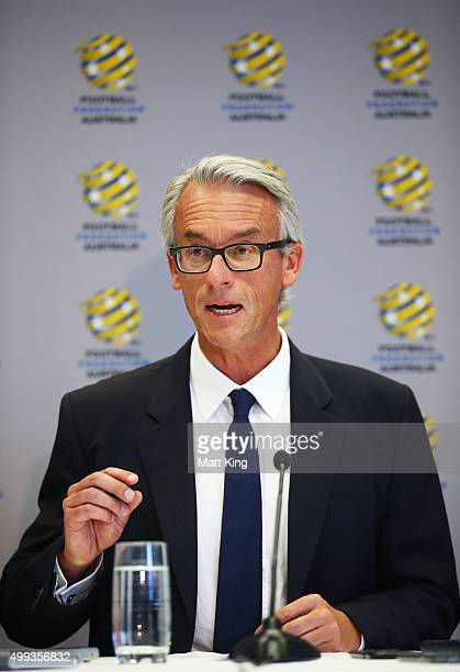 David Gallop speaks to the media during a press conference at the FFA Offices on December 1, 2015 in Sydney, Australia.