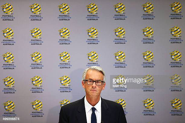 David Gallop speaks to the media during a press conference at the FFA Offices on December 1 2015 in Sydney Australia