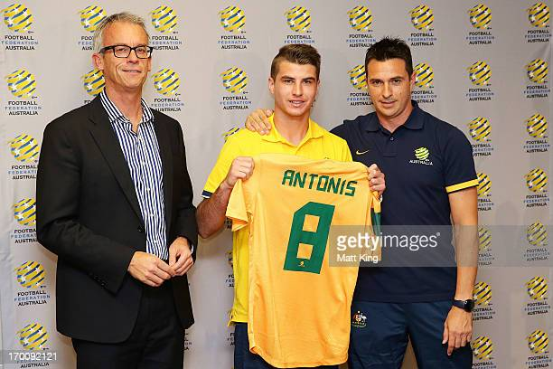 FFA CEO David Gallop Terry Antonis and Young Socceroos coach Paul Okon pose during the Young Socceroos Farewell Function at the FFA Offices on June 7...