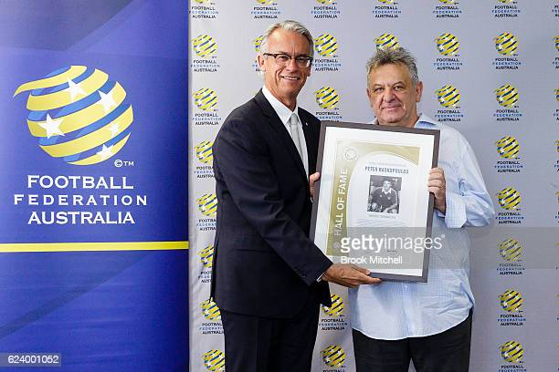 David Gallop with former Socceroo Peter Raskopouls pose during the 2016 Football Federation Australia Hall of Fame Induction Ceremony at the FFA...