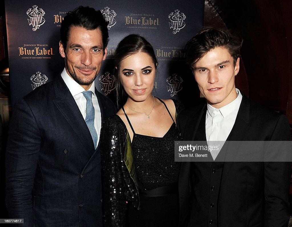 David Gandy, Amber Le Bon and Oliver Cheshire attend a party celebrating the new partnership between Johnnie Walker Blue Label and model David Gandy at Annabels on February 5, 2013 in London, England.