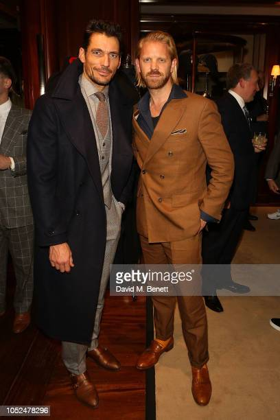 David Gandy and Alistair Guy attend an anniversary party celebrating 50 years of Ralph Lauren and 10 years of The Rake on October 18 2018 in London...