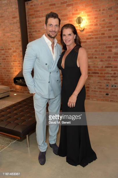 David Gandy and Brooke Shields at a private onefinestay home at the AMEX Platinum Metal Card Launch Celebrations on July 11, 2019 in London, England.