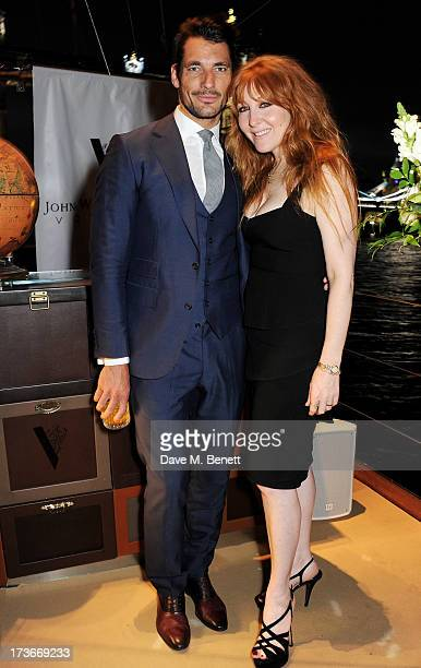 David Gandy and Charlotte Tilbury attend the Johnnie Walker Blue Label drinks reception aboard the John Walker Sons Voyager on July 16 2013 in London...