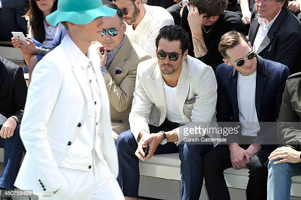 David Gandy and Dan Gillespie Sells sits on the front row at Burberry Prorsum SS15 during London Collections Men at Kensington Gardens on June 17...