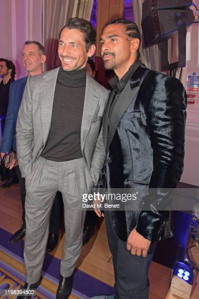 David Gandy and David Haye attend the GQ Car Awards 2020 in assoociation with Michelin at the Corinthia Hotel London on February 3 2020 in London...
